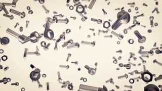 Screws and nails. Abstract animation of seamless loop background with elements of fixture.