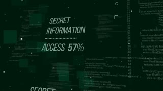 Secret Information Access. Development binary code in background. Internet security concept. Seamless loop.
