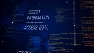 Secret information words with access procentage counts on a development programming code. Internet security concept. Seamless loop.