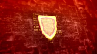 Shield icon flashes on modern technology background. Internet security concept. Seamless loop.