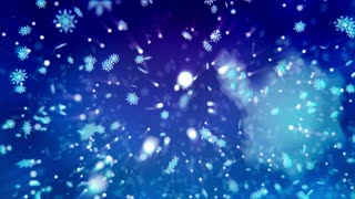 Snow flakes slowly drop down on a blue background.  or  Background. Loopable.