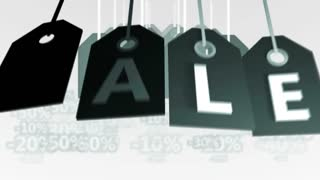 Square Gray Tags Hanging with the word Sale on a light background with percentage signs.
