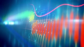 Stock market chart animation background represent down trend of stock market in perspective view.