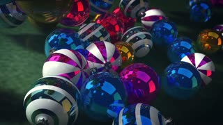 Striking 3d rendering of New Year balls rolling forward in the dark green background. They are taken from the tracking left perspective. They are shining and striped, and create a happy mood