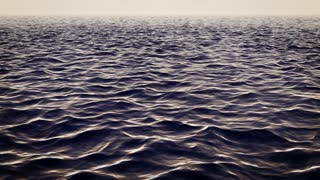 Thrilling 3d rendering of a white and black shark swimming under the surface of the open ocean waves. It hides and can appear at any moment from the dark blue waves