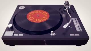 Vinyl player plays Disco disc. Retro concept animation.
