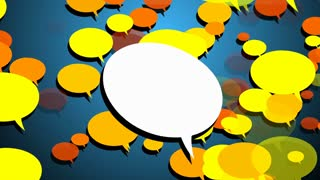 White Blank Speech bubble with luma matte channel and colorful Speech bubble scale up in a background.