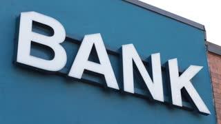 Bank word sign symbol