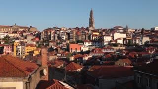 Downtown Porto, Portgal early morning buildings static sunrise v2