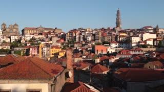 Downtown Porto, Portgal early morning buildings static sunrise v3