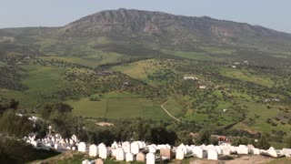 Graveyard cementery Morocco on a hill