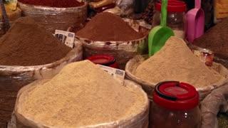 Morocco market spices colorful variety cones