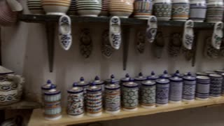 Morocco pottery clay ceramic shop pan shot