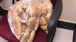 Pan shot of donated food