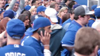 Pan shot of jam packed toronto blue jays crowd