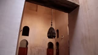 Pan shot world's oldest university bath house morocco