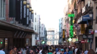 puerta del sol madrid fuencarral street out of focus