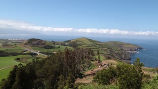 Sao Miguel wide pan shot beautiful landscape in Azores