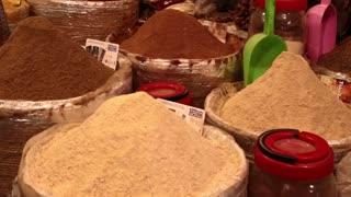 Spices in Morocco market cones pan