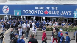 Toronto blue jays fans lining up at gate