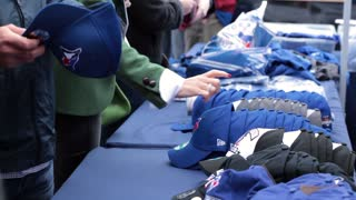 Toronto blue jays hats merchandise close up table