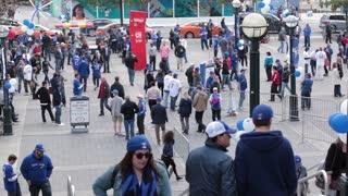 Toronto blue jays wide shot crowd assembling