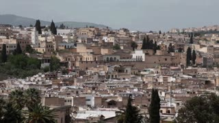 View of medina fez morocco from vantage point static shot