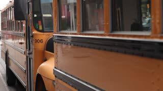 Yellow school buses parked static shot