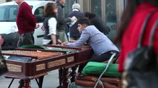 Young man street musician