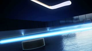 3d render animation of hockey rink with shine lines and stick shots on puck crossing goal line. Close view