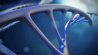 4K 3d rendered closeup footage with DNA molecule folds into a helix. Background science or medical video