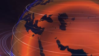 4K Loopable 3d animation of a spinning globe with materics in orange dots. Dark background