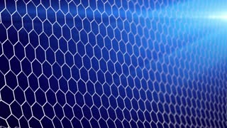 4K slow motion 3d animation of soccer ball flying and tearing goal net on dark background with stadium lights
