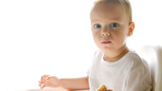 A little baby boy eats a cookie on white background