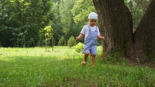 A little baby boy walking in grass meadow