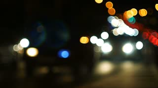 Defocused lights of night highway