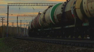 freight train with oil cisterns