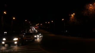 Night highway with traffic jam