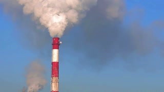 Seamless video with industrial smoking stack of power plant.