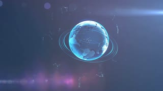 Spinning globe. Planet Earth as a blue glow hologram. 3d computer generated motion background