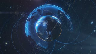Spinning globe. Planet Earth as a blue glow hologram with power arc lines. 3d computer generated motion background