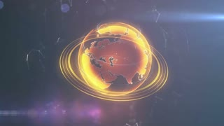 Spinning globe. Planet Earth as a orange glow hologram. 3d computer generated motion background