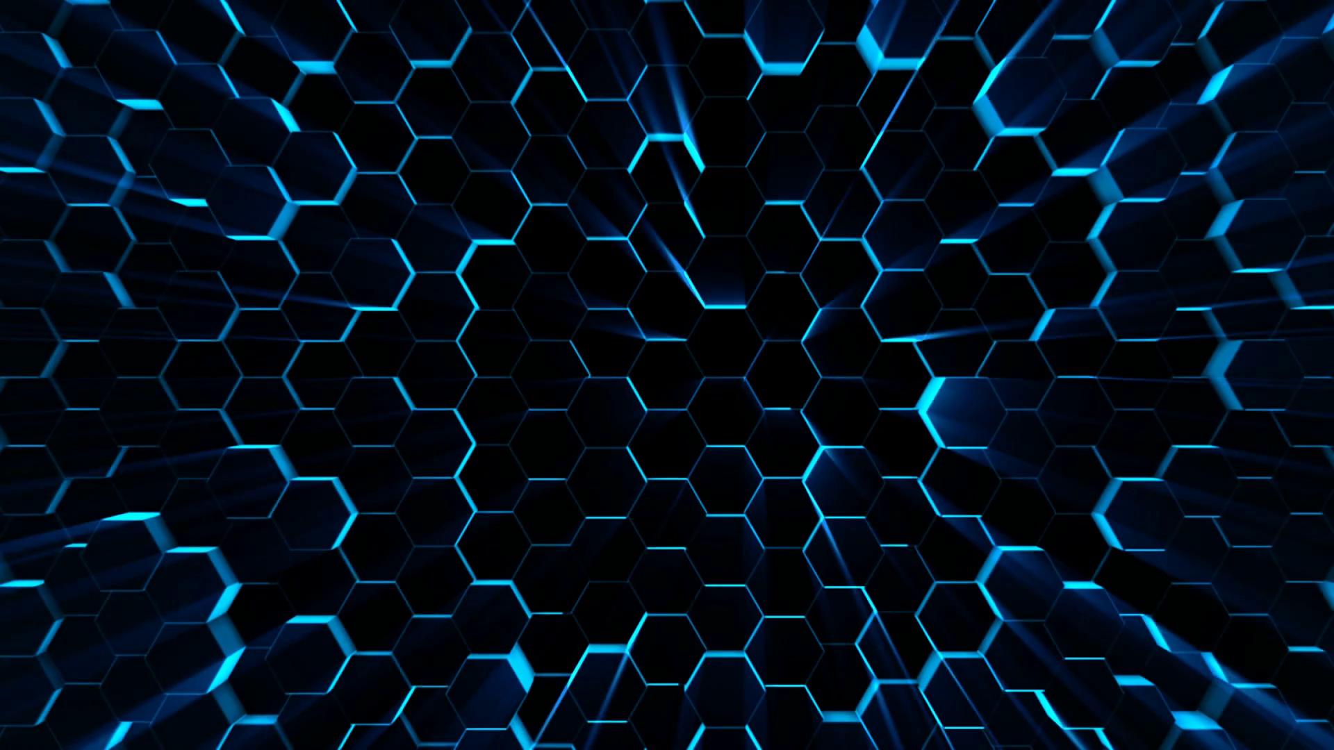 4K futuristic surface. Neon blue light hexagon pattern ...