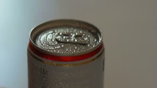 Close up of open aluminium beer can