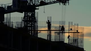 Construction site sunset, timelapse