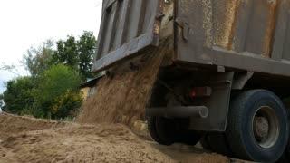 Dump truck unloading sand