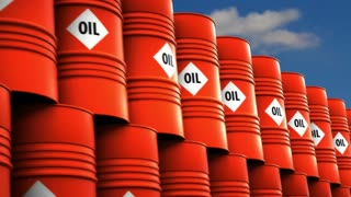 Industry oil barrels or chemical drums stacked up