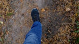 Man Walking on autumn forest