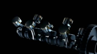 V8 motor with working pistons and crankshafts inside camera fly through. Concept of automobile engine.