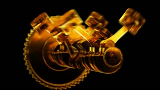 V8 motor with working pistons and crankshafts inside camera fly through